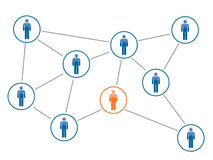 Social network. Ing between friends on the Internet Stock Images