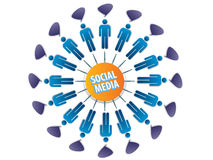 Social network. Ing between friends on the Internet Royalty Free Stock Image