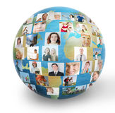 Social network. Collage with meny people Royalty Free Stock Images