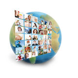 Social network. Collage with meny people Stock Photo