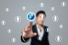 Social network. Social network structure with businessmen Stock Photos
