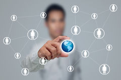 Social network. Social network structure with businessmen Stock Photography