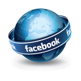 Social Network. World's largest social networking site. social media network facebook on world globe Royalty Free Stock Image