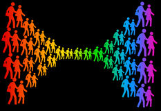 Social network. Colorful group of people representing a social network (copy space to the top and bottom of the image Stock Photo