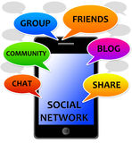 Social network. Using modern technology in a social network Royalty Free Stock Photos