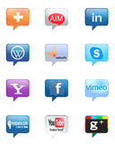 Social network. Collection of 12 popular social media and network buttons, isolated on white background Stock Image