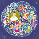 Social network. Illustration of group of people who actively use social network Royalty Free Stock Images