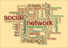 Social network. Word cloud for social network Stock Photo