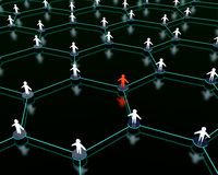 Social network. 3d render of social network with one person standing out from the crowd Stock Photography