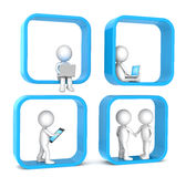 Social Network. 3D little human character X 4. Abstract social network. Blue version. People series Royalty Free Stock Photos