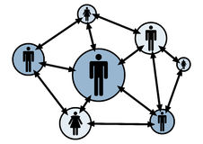 Social network. Connections from various sources Royalty Free Stock Image