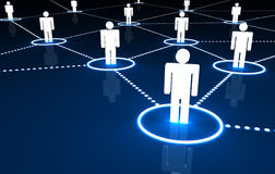 Social Network. Concept with connection of 3d people by dotted neon lines on dark blue background Stock Photo