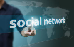 Social network. And connected words on touch-screen Stock Photos