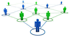Social Network. Concept with team of 3d people connected by dotted lines on white background Royalty Free Stock Photos