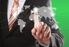 Social network. Businessman hand push a social network icon Stock Photos