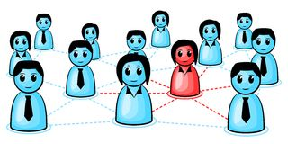 Social network. Symbolic people and how they are connected together Royalty Free Stock Images