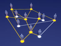 Social Network. Connected People. 3D rendered illustration Stock Image