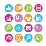 Social network and analytics icons. Set of 16 social network and analytics icons in colorful buttons stock illustration