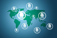 Social network around  the world Stock Image