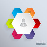 Social network badge with icons Royalty Free Stock Photo