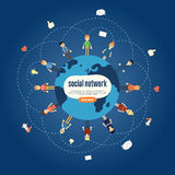 Social network banner with connected icons Royalty Free Stock Photo