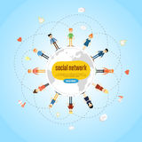 Social network banner with connected icons Stock Images