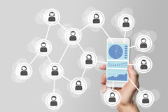 Social network big data analysis concept on mobile device Royalty Free Stock Photography