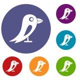 Social network bird icons set Royalty Free Stock Photo