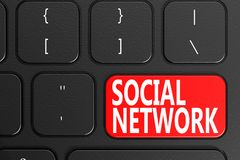 Social Network on black keyboard. 3D rendering Stock Image