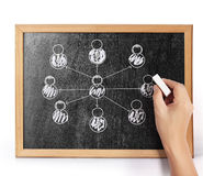 Social network  on blank blackboard Stock Photo