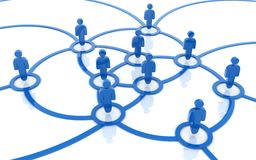 Social network blue. Social network around (done in 3d Stock Image