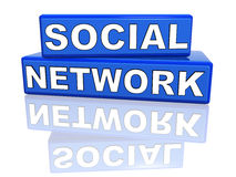 Social network - blue boxes with reflection Stock Photography