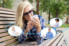 Social network or business concept - woman using smartphone in t. Social network or business concept - women using smartphone in summer park Royalty Free Stock Image