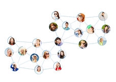 Social network. Business and networking concept - social network with men and women Royalty Free Stock Images