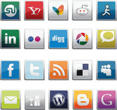 SOCIAL NETWORK BUTTONS SET Stock Image