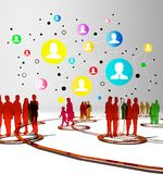 Social network buzz words and icons forming the shape of a talk bubble Royalty Free Stock Photos