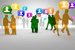 Social network buzz words and icons forming the shape of a talk bubble Royalty Free Stock Images