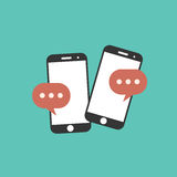 Social network. Cell phone chat. Mobile chat on line. Flat icon stock illustration