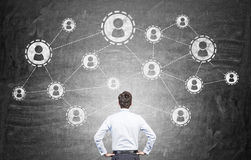 Social network on chalkboard Royalty Free Stock Images