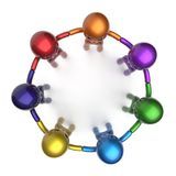 Social network characters circle teamwork diverse friends. Hip individuality people team seven different cartoon friends unity meeting icon concept colorful. 3d Stock Images
