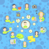 Social network circles concept, cartoon style Stock Photography
