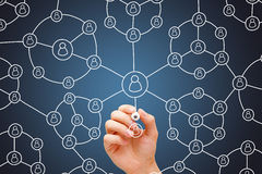 Social Network Circles Concept White Marker stock image
