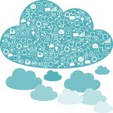 Social network clouds backgrounds of SEO internet Stock Image