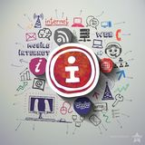 Social network collage with icons background Stock Photo