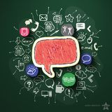 Social network collage with icons on blackboard Royalty Free Stock Photography