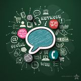 Social network collage with icons on blackboard Royalty Free Stock Photo