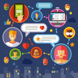 Social network. Color vector flat illustration Royalty Free Stock Images