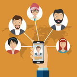 Social network and communication concept. Businessman hand holding mobile smart phone with web icons. Flat vector. Illustration Stock Image