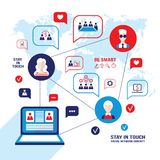Social network and communication concept  People avatars laptop computer  business icons Royalty Free Stock Photos
