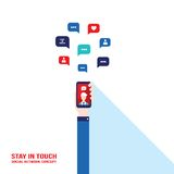 Social network Communication Successful business and e-commerce concept Hand holding smart phone Stock Image